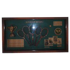 Vintage History of the Tennis Racket Wall Art -  Hand Crafted - Shadow Box with Glass - Dark Brown Frame - Dark Green Background