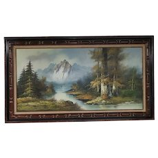 Very Large Vintage Landscape Oil Painting on Canvas - Trees, Mountains, Snow, and Water - Trees are in Fall Colors - Wood Frame - Signed by Artist H. Barrer