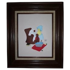 Vintage African American Framed Lithograph on Canvas - Dark Wood Frame - Sadie's Relief - By Famous Artist Annie Lee  - Older Woman Soaking Feet - Bible by her Chair - Lamp Shade Tilted to Read Bible