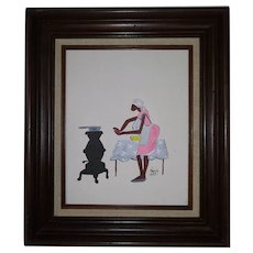 Vintage African American Lithograph on Canvas - Dark Wood Frame - By Famous Artist Annie Lee  - Brown Skinned Woman by Wood Stove