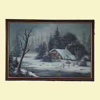Very Large Vintage Landscape Oil Painting on Canvas - Cabin, Fence, Trees, Mountains, Snow, and Water - Trees are in Winter Colors - Snow falling - Wood Frame - Signed by Artist R. Garcia - H