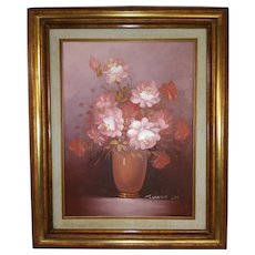 Framed Vintage Oil Painting on Canvas - Brush and Knife Execution - Flowers in a Pitcher - Flowers are Pink, Red, and White Green Leaves - Pink Orange Pitcher - Signed by Artist Robert Cox