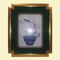 Vintage Asian Silk Screen of Birds and Flowers in Pot - Gold Formed Custom Frame - Triple Green and Maroon Custom Formed Mat - Blue Birds and Pot - Pink Flowers