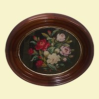 Antique Handmade Embroidery Cross Stitch Wall Art - Antique Walnut Oval Frame - Red, White, Purple, Pink, and Beige Bouquet of Flowers - Green Background Stitching - Wood Dust Cover