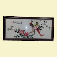 Very Large Vintage Asian Silk Wall Art - Hand Embroidery of Peacock and Peahen Perched on Limb - Tree with Pink, Orange, and Purple Flowers with Green Leaves
