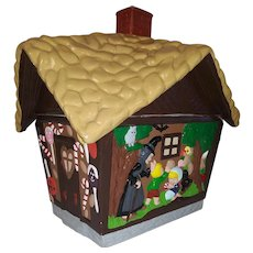 Vintage Hand Painted Ceramic Ginger Bread House Cookie Jar - Hansel, Gretel, Witch, Tree, Deer, Owl, Lolli Pops, and Candy Canes