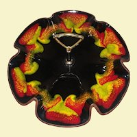 Vintage Majolica Ruffled Serving Tray with Handle - Flower Shape - Black Tray with Red, Green, Orange, and Yellow Highlights. - Brown Wood Design Bottom -  Made in the USA - Tray for Vegetable, Fruit, Cookies, Finger Food