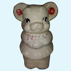 Vintage Ceramic Turnabout Bear Cookie Jar - Girl and Boy Bear - Head Turns - White Bears with Red Highlights - Boy Bear with Blue Eyes - Girl Bear with Black Eyes and Eye Lashes - Embossed: Patent Applied, Turnabout, The 4 in 1, USA