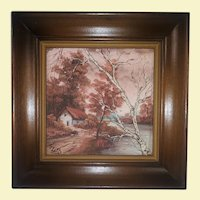 Vintage Landscape Oil Painting on Board - Wide Maple Frame - House, Water, Trees, and Birds in Fall - Signed by Artist J. Lord