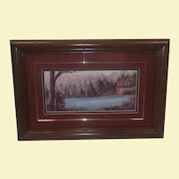 Vintage Signed and Framed Landscape of Young Barefoot Boy Fishing - House, Water, Trees, and Flowers - Custom Oak Frame - Signed Front and Back by Artist Paulette Smith - Story of Artist on Back - Custom Triple Mat over Oleograph