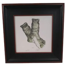 """Vintage Framed, Signed, and Numbered Limited Edition """"Pair of Socks"""" - Custom Walnut Wood Frame with Black Trim - Numbered ev01 - Pencil Signed by Artist ev271 - Artist Signature in Pencil K. Spicher - Green and White Socks - Lithograph Under Glass"""