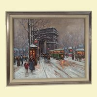 Vintage Paris City Scape Acrylic Painting on Canvas - Arc d Triomphe, Paris - People Walking, Horse and Carriage, Trolley Car, and Buildings Wide Two Tone Silver Frame - Signed by Artist Boyer