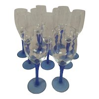 Vintage Hand Blown Wine Glasses with Cobalt Blue Heavy Twisted Stems