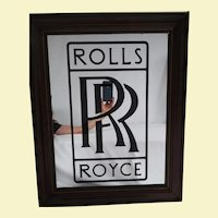 Very Large Vintage Rolls Royce Embossed Wall Mirror - Very Wide Maple Wood Frame with Gold Highlight - Wall Art for Man Cave, Garage, Game Room, Sports Room