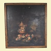 Very Large Antique Oil Painting on Canvas - Pitcher, Vase, Flowers, and Fruit - Early 19th Century - Wood Frame - Signed by M. Catharine Wright