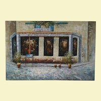 Vintage France City Scape Acrylic Painting on Canvas - Restaurant Front with Flowers on a Street - Trees and Flowers - Signed by Artist Davis