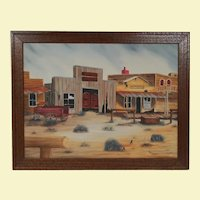 Vintage Western Town Oil Painting on Canvas - Natural Wood Frame in Bronze Color - Signed by Artist Melmoo - Old Western Town, Horse Hitch, Water Trough, Rabbits, Wooden Wagon, and Tumble Weed