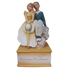 """Schmid Saturday Evening Post Norman Rockwell """"In Love"""" Porcelain Music Box plays """"Sitting on Top of the World"""" NIB"""