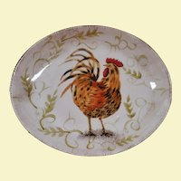 San Raphael  Hand Painted Rooster Serving Dish by HD Designs - Very Large and Very Deep