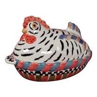 Chicken Covered Casserole Boat Dish - Hand Painted Ceramic