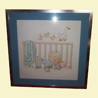 Vintage Framed and Matted Cross Stitch - Baby Boy Sleeping with Puppy, Rabbit, and Dog - Ducks and baby blanket presented