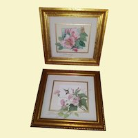 Vintage Original Artwork Mixed Media - Hummingbirds and Flowers - Mixed Media Oil - Professionally Framed and Triple Matted