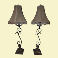 Vintage Pair of Patinated Metal Lamps on Base with Golden Octagon Shades - Trimmed with Amber and Gold Glass Beads