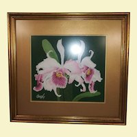 Vintage Crewel Hand Embroidery Wall Art - Pink and White Orchids with Green Leaves - On Dark Green Felt with Custom Gold Frame and Mat - Signed Hazely