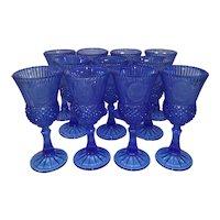 Vintage Cobalt Blue Fostoria Water Goblets by Avon - Set of 11 - George and Martha Washington