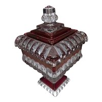 Vintage Red Ruby Flash and Clear Square Dish with Lid - Made by Westmoreland  Glass Company