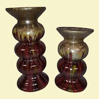 Set of 2 - Vintage Ceramic Majolica Drip Candle Holders- Brilliant Colors in Light - Large and Medium