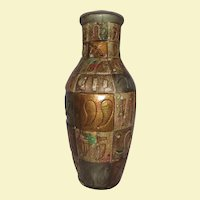 Large Ceramic Embossed Pottery Vase - Rich Earth Tones - Colors of Gold, Bronze, Brown, Green, and Red