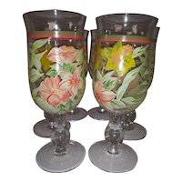 Vintage Hand Blown, Hand Painted Wine Glasses or Spirit Goblets - Hand Painted with Yellow and Pink Flowers with Green Leaves