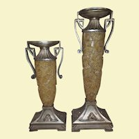 Vintage Candle Holders Made of Base Metal with Tropical Leaf design from Faux Bone composite - Very Big and Very Heavy