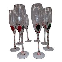Vintage Hand Blown Wine or Champagne Glasses - Red and Green Drops with Air Twist Stems - Set of 8
