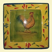 Vintage Square Plate with Painted Rooster - Yellow and Red with Golden Colors