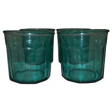 Vintage Green Panel Beverage Glasses - Made in France - Very Heavy