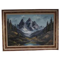 Vintage Oil Landscape Painting of Mountains and Pine Trees with Snow