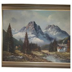Vintage Oil Landscape of Mountains, Trees, and House on the Water - 1972 from Germany - Signed by Hornig