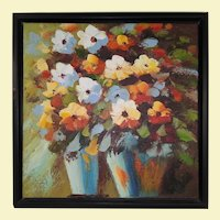 Vintage Oil Painting of Two Floral Vases - Multi-Color Flowers Abstract by Knife
