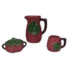 Vintage Hand Made Clay Majolica Pitcher, Mug, and Sugar Bowl with Lid - Pink Berry with Large Green Leaf on Each - Made in Portugal