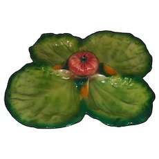 Vintage Majolica Divided Serving Tray with Applied Tomato with Leaves in Center - Green with Red Tomato - Made in Italy