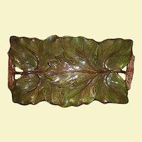 Vintage Majolica Green Leaf Serving Tray - Brown Wood Handles