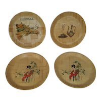 Vintage Bamboo Serving Trays - Made in Taiwan - Set of 4