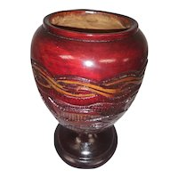 Vintage Large Hand Turned Wood Urn Vase - Hand Carved and Stained with Fish and Flowers