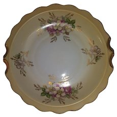 Vintage German Kalk Gold Guilded Porcelain Serving Bowl - Transferware - Pink and White Flowers with Green and Gold Leaves