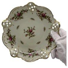 "ROSENTHAL Germany Pierced Porcelain Moliere Moosrose Rose Floral Decorative Dish 7"""