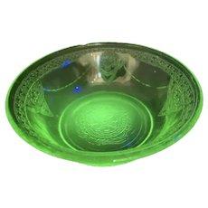 "Federal Glass Co. Vaseline Depression Glass Green Georgian Lovebirds Fruit Bowl 4.5"""
