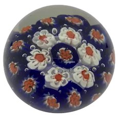 "Murano Italian Millefiori Glass Paperweight, Blue White Orange with Controlled Bubbles 3"""