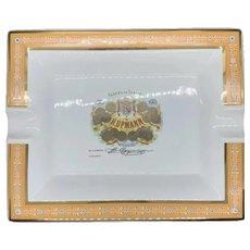 """VINTAGE Fabrica de Tabacos H. Upmann Cigar Porcelain Gold Orange Ashtray 9"""""""